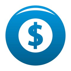 Dollar icon vector blue circle isolated on white background