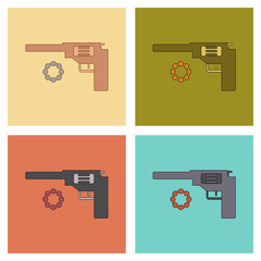 assembly flat icons Kids toy pistol