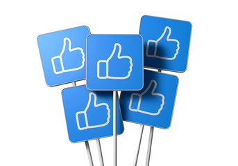 Thumbs up icon sign on a white background. 3D Rendering