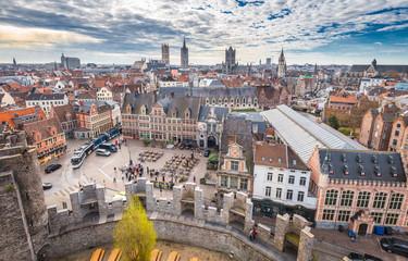 Aerial view of Ghent, Flanders, Belgium