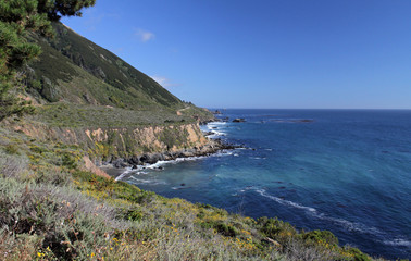 Driving along the coast on Highway 1 in California