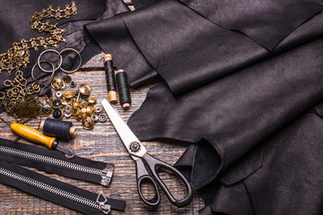 Black leather texture, background, surface