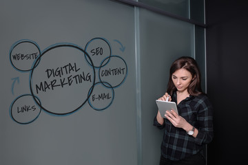 Hipster freelancer woman holding a tablet and standing near a business idea sketch on blackboard