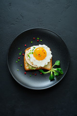 Toast with guacamole sauce from avocado, cheese, fried egg and fresh on black ceramic plate on dark concrete background. Selective focus. Top view.