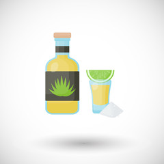 Tequila bottle and shot with lemon, salt flat vector icon