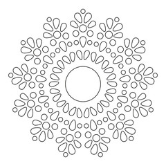 Mandala. Round Element For Coloring Book. Black Lines on White