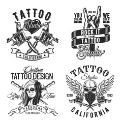 Set of tattoo emblems, labels, badges, logos. Isolated on white