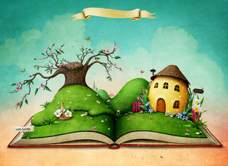 Holiday greeting card magic book with green spring landscape and Easter Egg House.