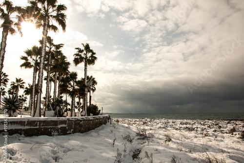 Ionian coast after a exceptional snowfall near quattro colonne ...