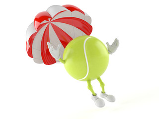 Tennis ball character with parachute