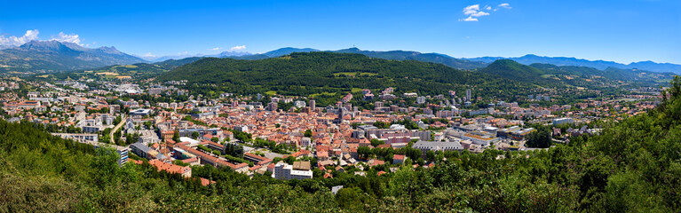 Elevated panoramic view of the city of Gap in the Hautes-Alpes in Summer. Southern French Alps, France