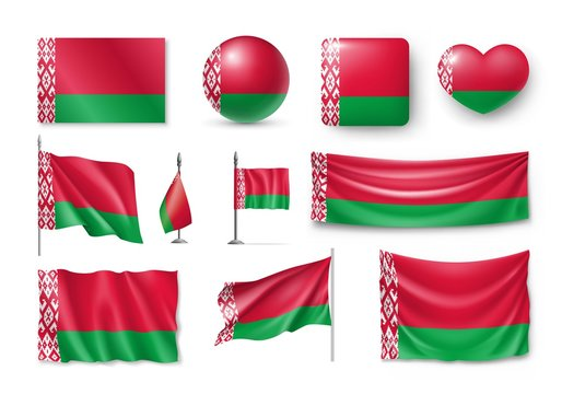 Set Belarus flags, banners, banners, symbols, flat icon. Vector illustration of collection of national symbols on various objects and state signs