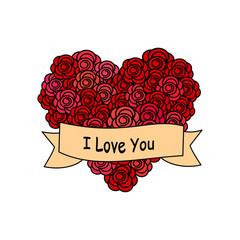 cute cartoon vector heart rose with i love you banner