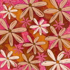 Pink and Orange Funky Floral Pattern Deign