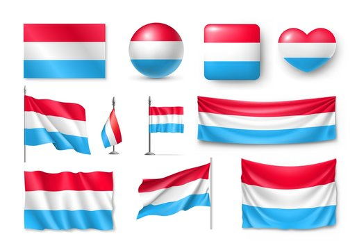 Set Luxembourg flags, banners, banners, symbols, flat icon. Vector illustration of collection of national symbols on various objects and state signs