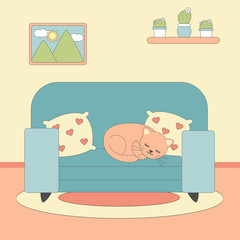 cute lovely cartoon vector illustration with cat lying on blue sofa