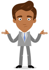 Vector illustration of an asian cartoon businessman looking clueless and shrugging his shoulders.