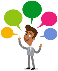 Vector illustration of an asian cartoon businessman with colorful speech balloons talking and gesturing.