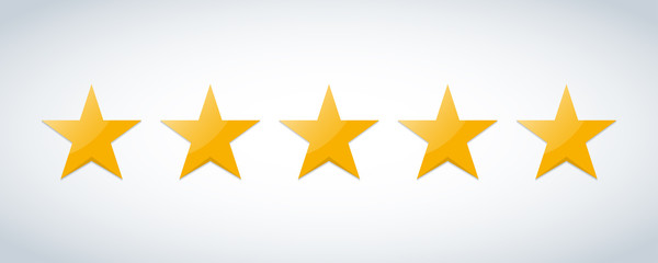 Five stars customer product rating review flat icon for apps and websites Fotomurales