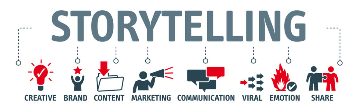 storytelling, banner with keywords and icons