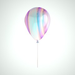 Iridescence holographic foil balloon isolated on gray background. Trendy design 3d element for birthday, presentation, promo, party or other events.