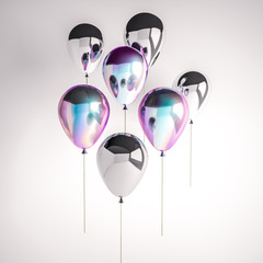 Set of iridescence holographic and silver foil balloons isolated on gray background. Trendy realistic design 3d elements for birthday, presentation, promo, party or other events.