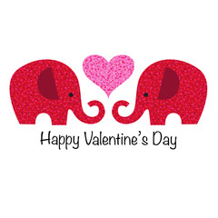 cute red glitter valentine elephants with pink heart