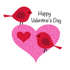 cute valentine birds in pink glitter heart