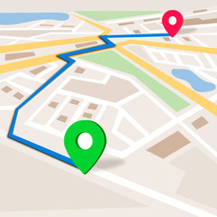 Gps navigation background. City map. Vector illustration.