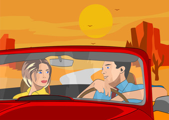 Men and wife travelling by car