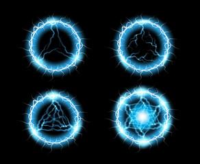 Ball lightning, light effect Abstract round frame with lightning. Vector illustration.