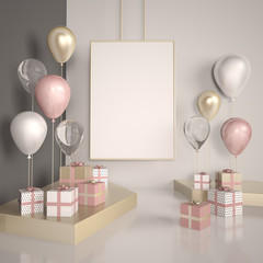 Poster mock up 3d interior scene. Pastel pink and gold balloons with gift boxes on the white floor. Glass and metal elements in illustration.