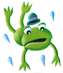 Frog with hat jumping