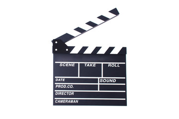 Clapperboard or slate for director cut scene in action movie for role play. Entertainment and object theme. Dramatic and Video theme. Black wooden slate. Isolated white background