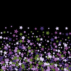 Colorful Stars Confetti, Mystery Sparkling Vector Background. Trendy Glowing Magic Glitter, Lights. Festive Falling Colorful Stars Confetti for Ads, Posters.