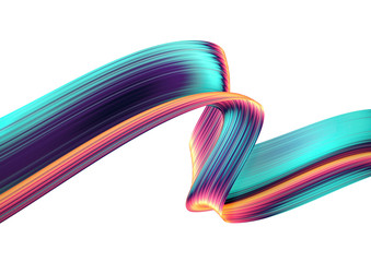 3D render abstract background. Colorful twisted shapes in motion. Computer generated digital art for poster, flyer, banner background or design element. Holographic foil ribbon on white background.