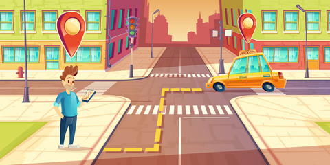 Vector urban navigation, taxi service application concept, advertising template. Illustration with young man character on street, smartphone, taxi car route with pointers, cartoon cityscape background