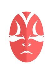 Tribal smiley japanese kabuki mask. Drama actor face