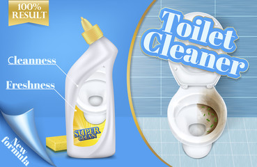 Vector poster of toilet cleaner ads, before and after effect of detergent, top view of bowl in 3d illustration. Cleaning concept, liquid disinfectant promotion. Antiseptic brand, chemistry banner