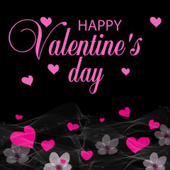 Black holiday background with pink hearts and flowers. Design for posters, cards or banners. Valentines day etc. Vector