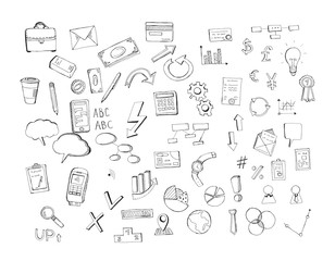 Hand drawn finance and business doodle design elements isolated on white