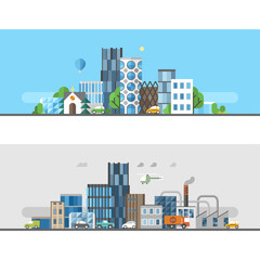 Ecology concept - two horizontal banners in flat design style. Green city. Polluted city.