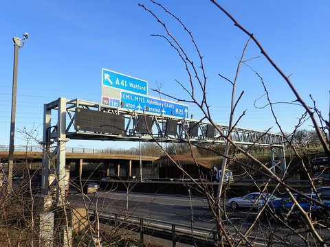 M25 Motorway sign near Micklefield Green, Hertfordshire, UK