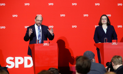 Social Democratic Party (SPD) leader Schulz and incoming party leader Nahles address a news conference at the party headquarters in Berlin