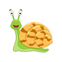 Cute cartoon snail.Vector illustration isolated on white background