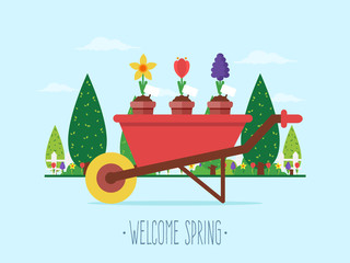 Welcome Spring. Wheelbarrow with Spring Flowers and Garden in the Background. Flat Design Style.