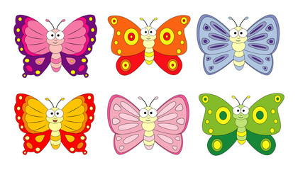 Set of 6 cartoon butterfly. Vector illustration isolation on white background.