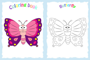 Coloring book page for preschool children with colorful butterfly and sketch to color
