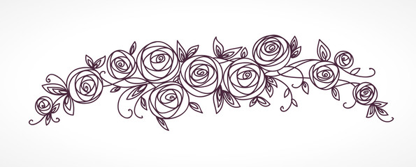 Stylized rose flowers bouquet. Branch of flowers and leaves interlacing.