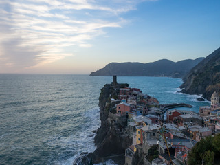 View on the colorful houses along the coastline of Cinque Terre area in Vernazza, Italy, january 2018